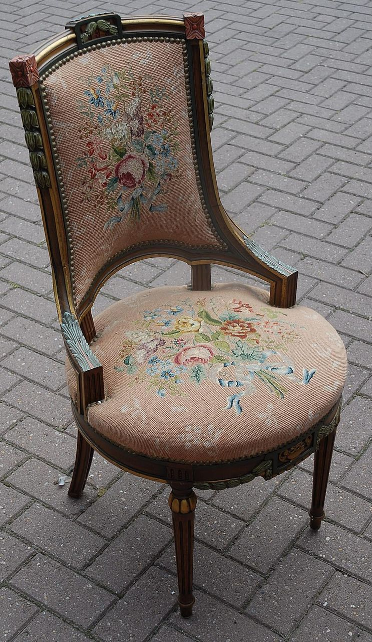 Antique Wooden Carved Chair ~ A lovely antique carved wood polychrome chair with floral