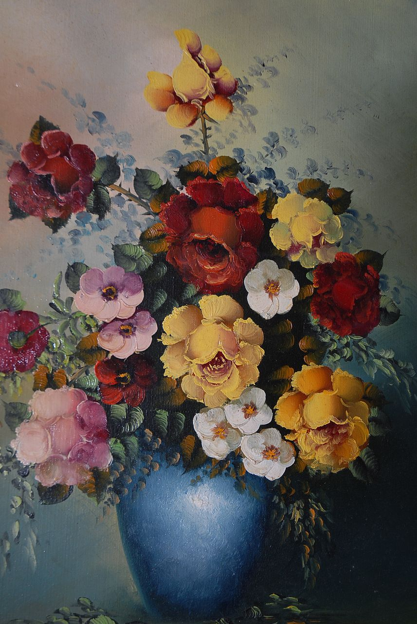 A Beautiful Decorative Colorful Floral Oil Painting