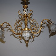 An Antique Gilt Bronze / Porcelain 3-light Chandelier with Glass Shades