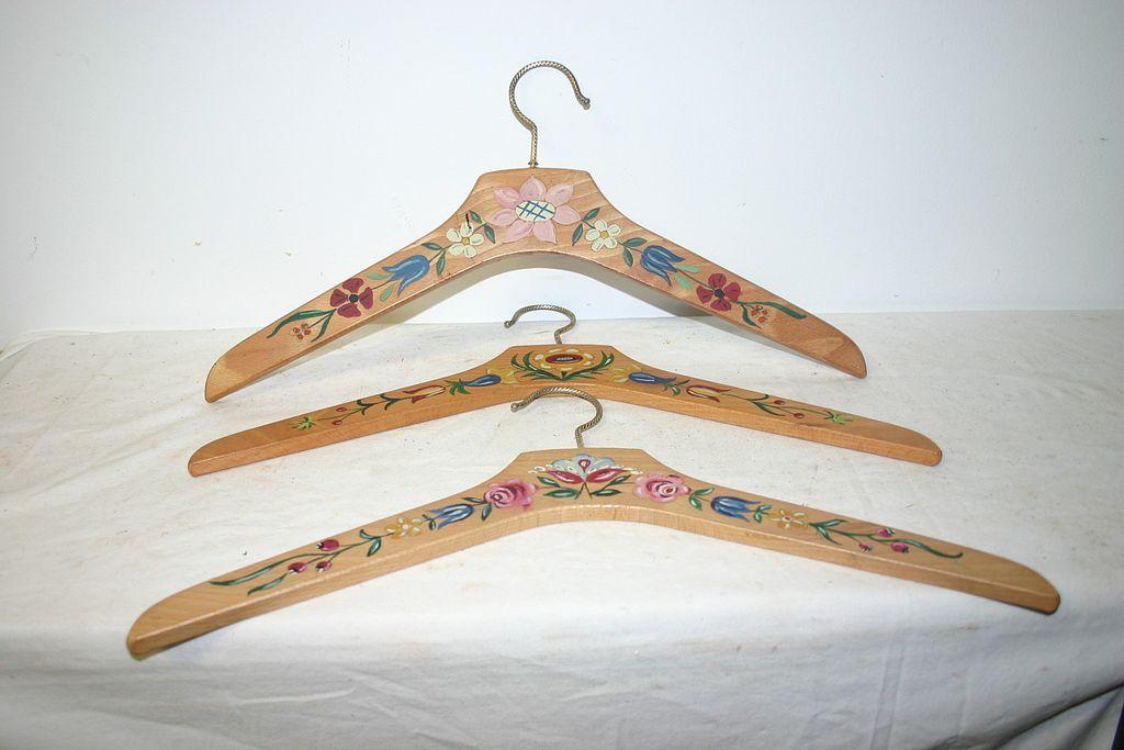 wooden coat hangers bulk nz craft for sale vintage set floral painted clothes