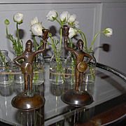 Antique Pair Bronze Figural Candle Sticks Knight Motifs