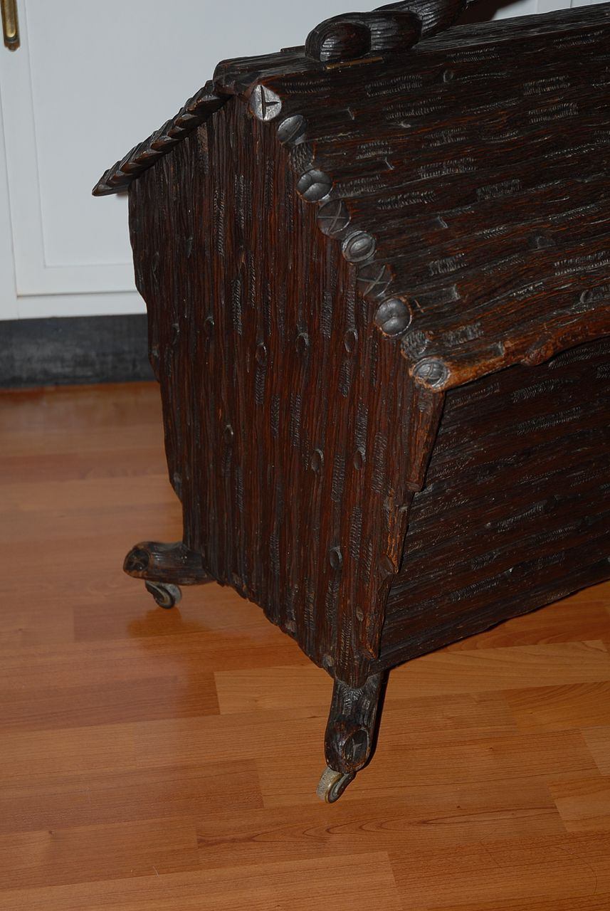 A Rare Antique Finest Carved Wood Black Forest Fire Place Box