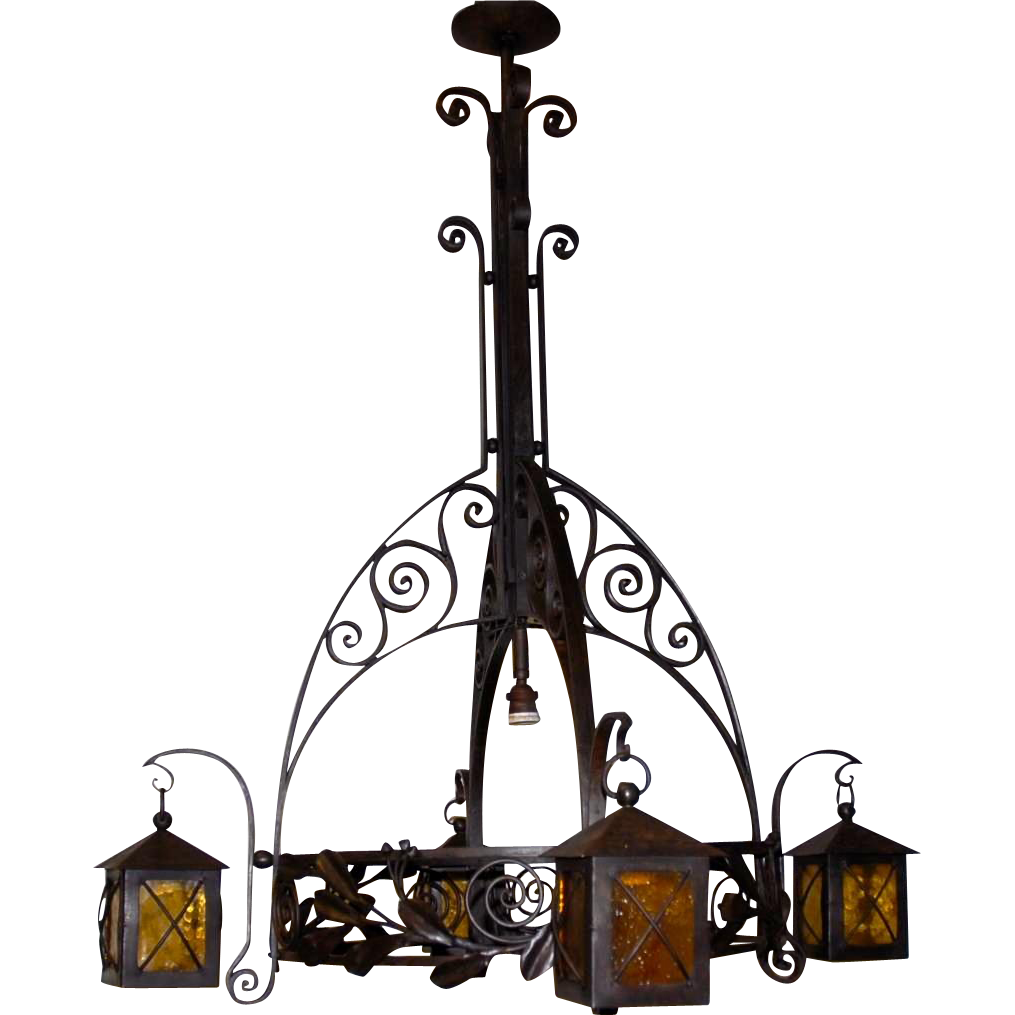 Arts & Crafts - Nouveau Wrought Iron Art Chandelier with Lantern