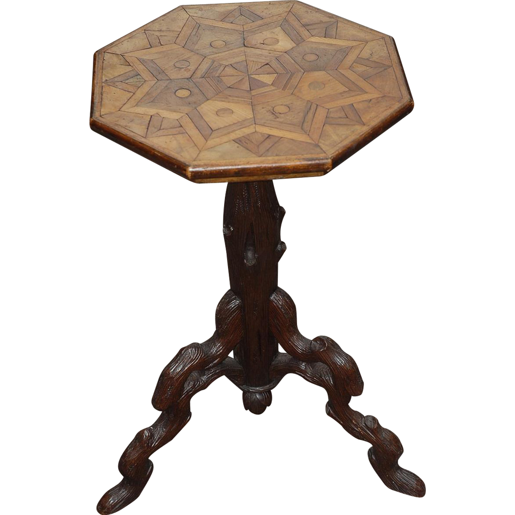A Rare Antique Carved Wood Tripod Wine Table with Veneered Top