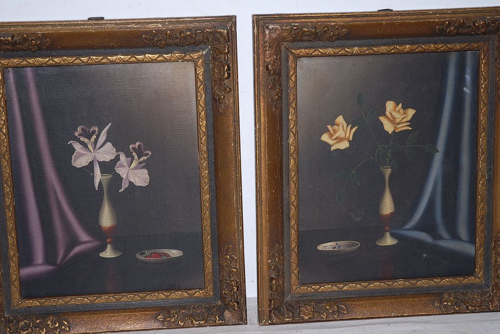 Still Live, A Pair Fine Oil Paintings in Frame, Flowers in Vase