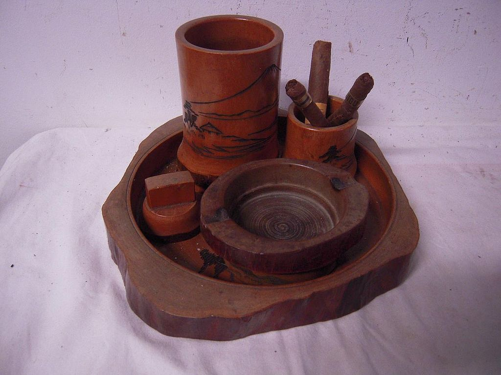 6 pieces Quality Carved Wood Smoke Set