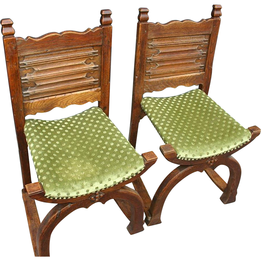 A Pair Antique Wooden (oak) Cloister Chairs