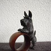 A Finest Carved Wood Terrier Dog Napkin Ring