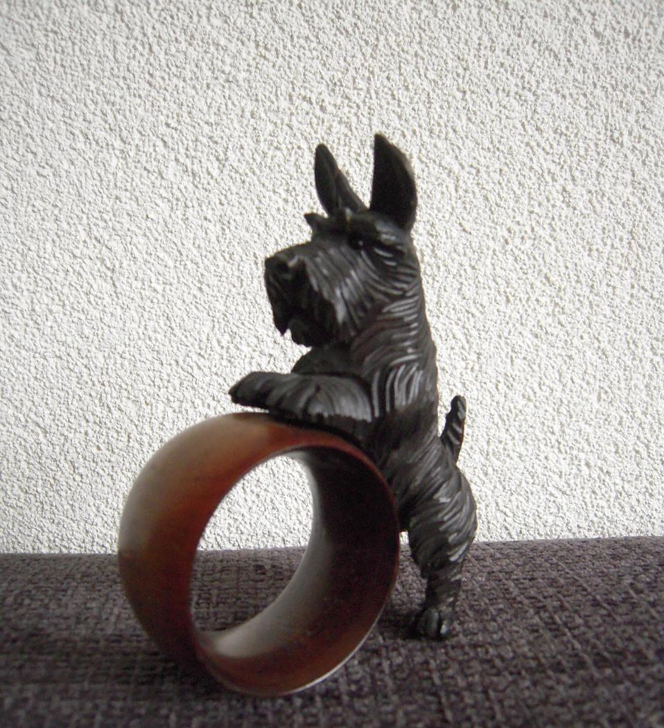 A Finest Carved Wood Terrier Dog Napkin Ring