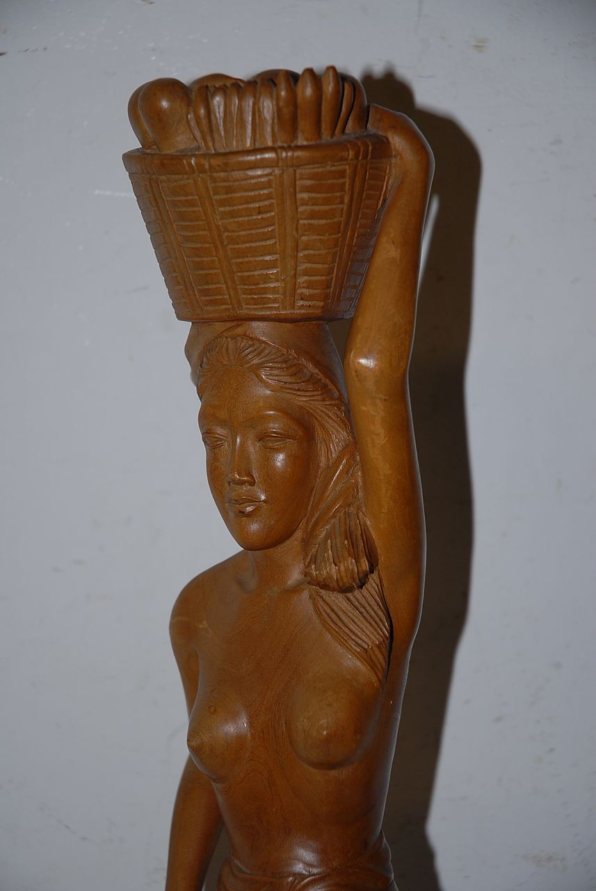 An Art Deco Carved Wood Javanese Lady Sculpture