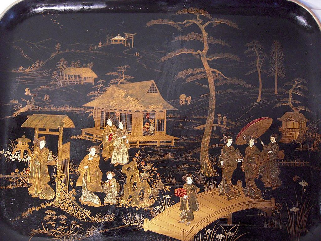 An Early Victorian Japanned Figural Painted Papier-mâché Tray
