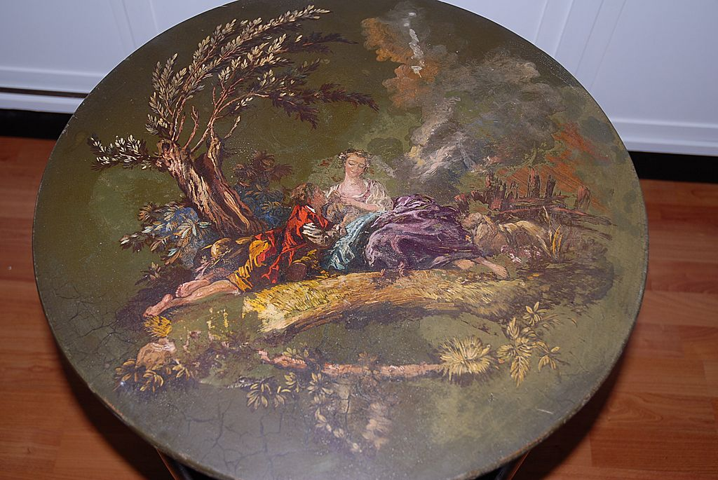 Beautiful Romantic Scene and Floral Painted Fine Wooden Furniture Side Table