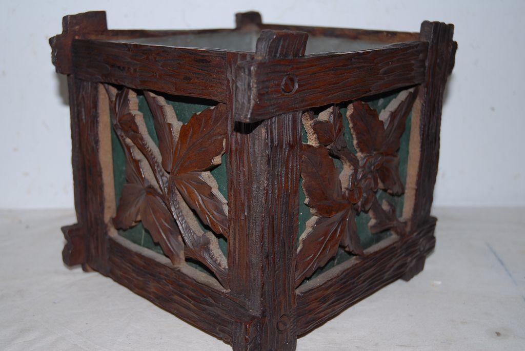 Fabulous Antique Hand Carved Black Forest Planter or Jardiniere with Leaf Decor