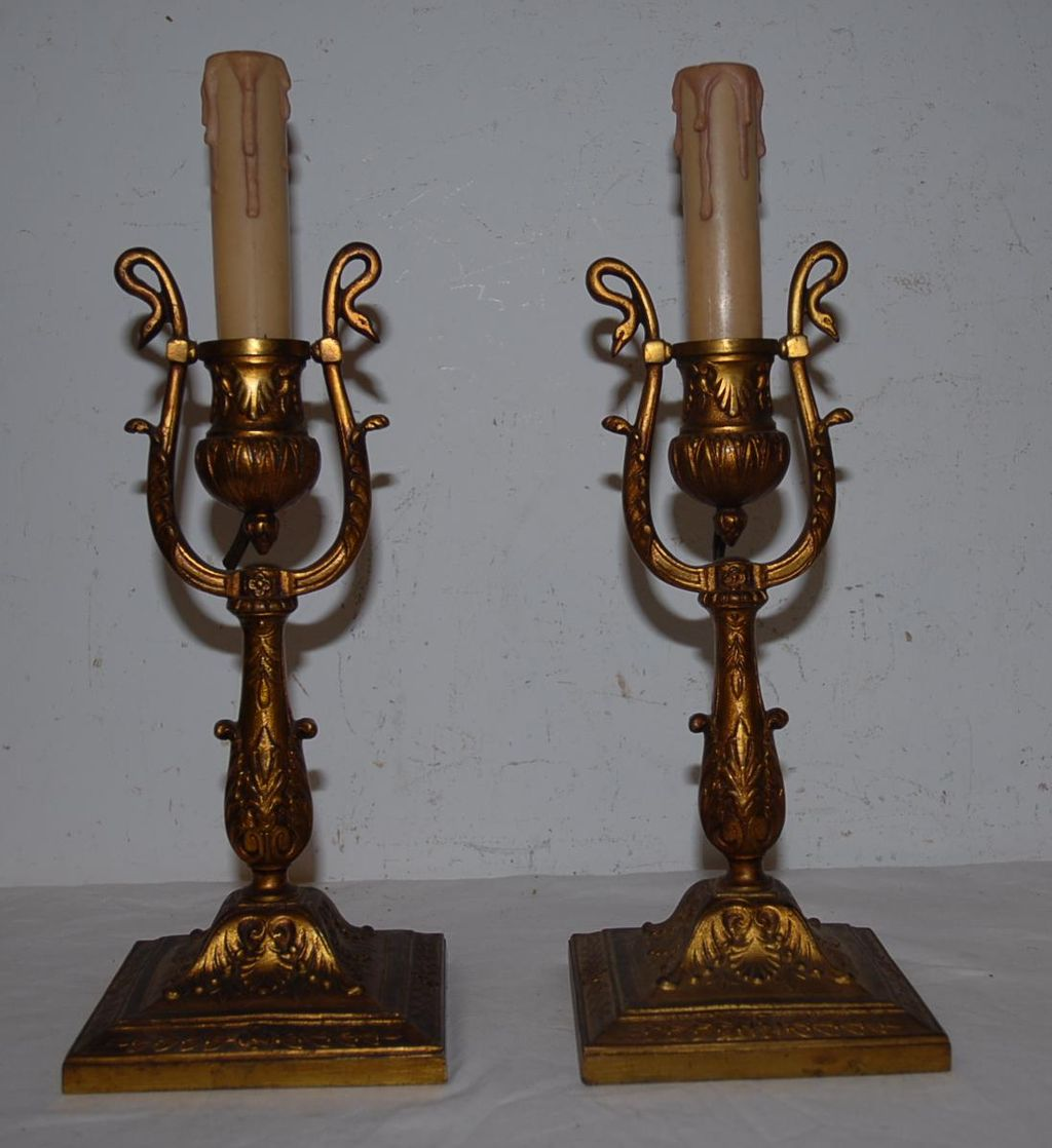 Gorgeous Pair Bronze Empire style 1-light Wall Sconces or Table Lamp with Swan Detail