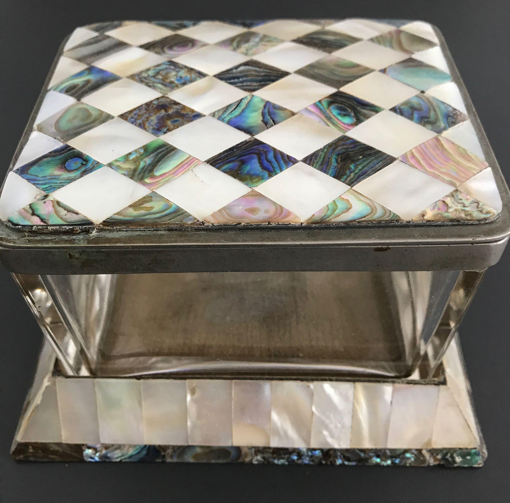 Beautiful Quality Glass Box with Marquetry Style Mother of Pearl Veneer