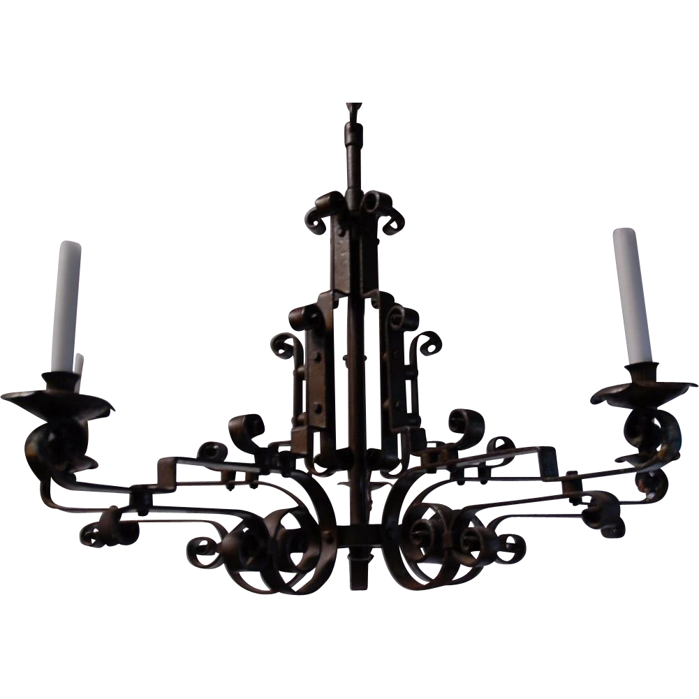 Large Art Nouveau Quality Hand Made Wrought Iron Art 6 light Candle Chandelier