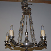 Unique Antique Empire Silvery Color Metal 6 light Chandelier