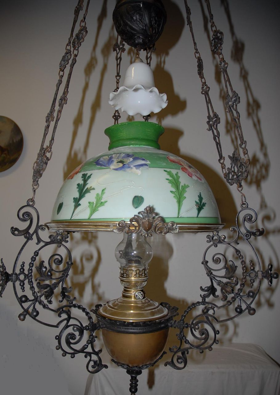 Huge Antique(Art Nouveau) Iron/Brass Floral Hanging Oil Lamp from ...