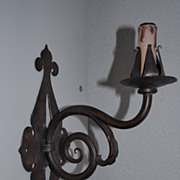 Quality Art Nouveau Hand Wrought Iron Art Wall Sconce