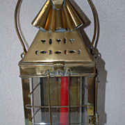 Antique Quality Thick Brass Candle Lantern, circa 1800