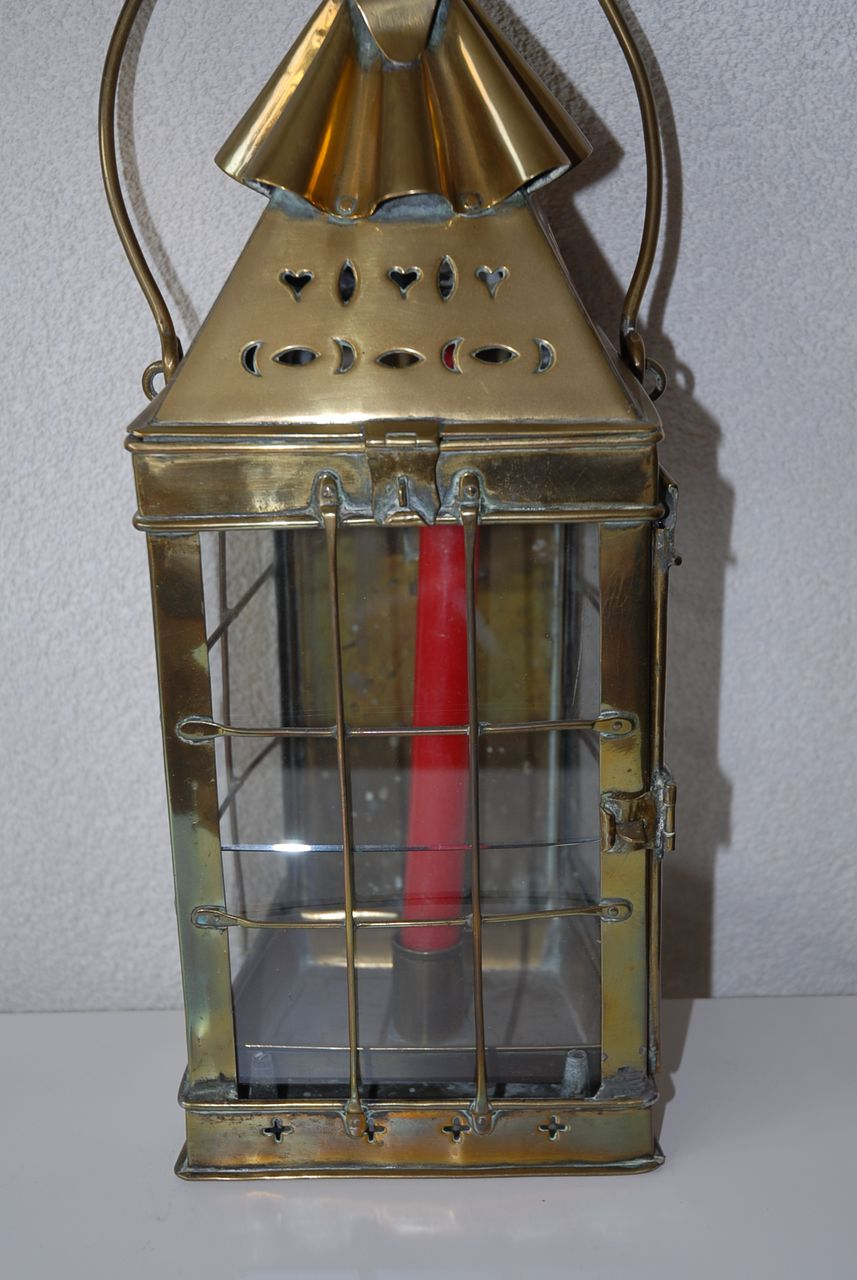 Antique Quality Thick Brass Candle Lantern, circa 1800