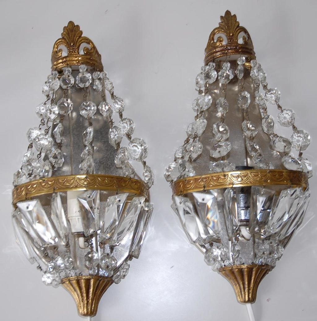 Pair French Vintage Bronze & Crystal 1-light Wall Sconces