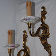 Rare Pair Bronze, Lovely Floral Painted Porcelain 1-light Wall Sconces
