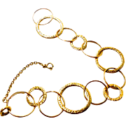 "Toni Cavelti ~ 18K Yellow Gold ~ Signed ""Circles"" Bracelet ~ 7"""