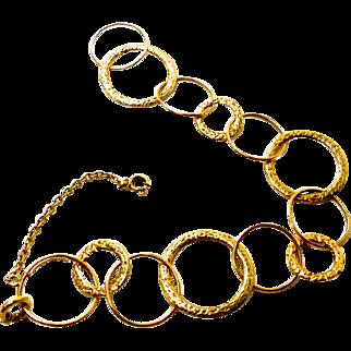 """Toni Cavelti ~ 18K Yellow Gold ~ Signed """"Circles"""" Bracelet ~ 7"""""""