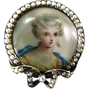 Euro Silver Antique Portrait Brooch with Seed Pearl Surround