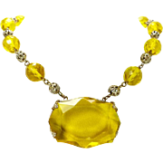 Uranium Yellow Cut Glass Czech Necklace Art Deco, c. 1925