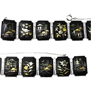 Japanese Damascene Inlaid Panels Bracelet -Rhodium Plated