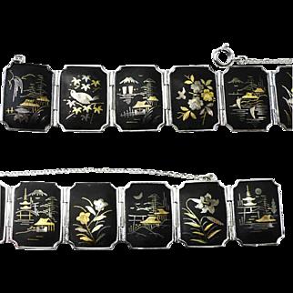 Japanese Damascene Inlaid Panels Bracelet -Rhodium Plated