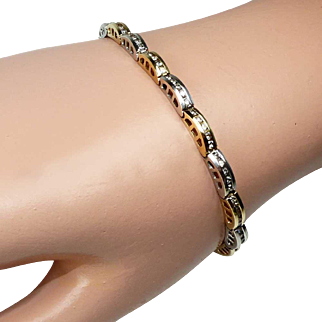 Vintage 14 K Yellow & White Gold Diamond Tennis Bracelet ~ 1.60 carats ~ 13.7 Grams