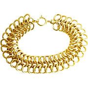 14K Heavy Yellow Gold ~ Vintage 3 Row Chain Bracelet