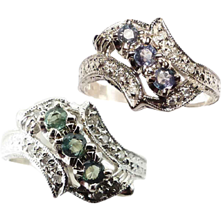 Natural Color Change Alexandrites ~ 14K White Gold Ring