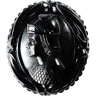 Victorian Whitby Jet Roman Soldier Cameo circa 1870