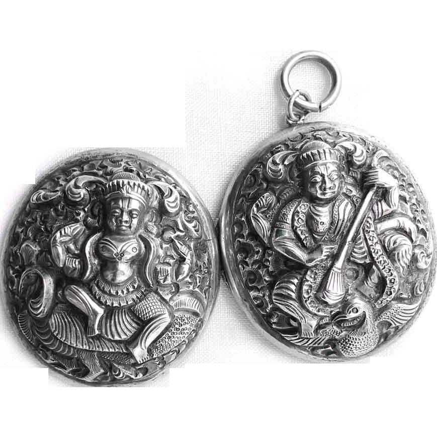 Antique Sterling Silver Tibetan Buddhist Goddess Locket c. 1880