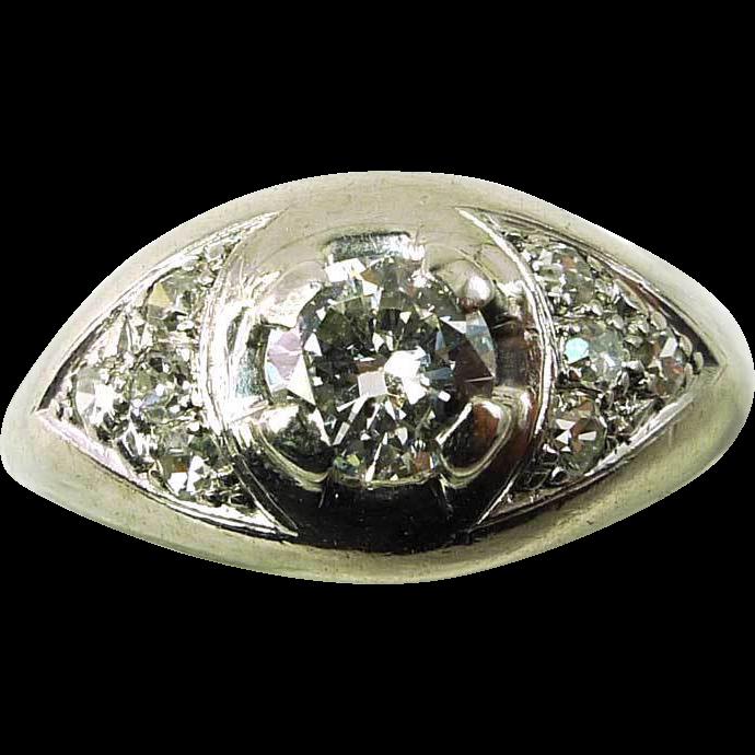 Antique ~ 18K White Gold Edwardian Era .33ct Diamond Ring
