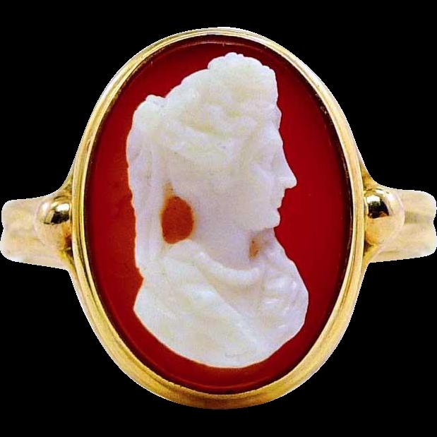 Antique Sardonyx Hardstone Cameo 10K Yellow Gold Ring