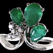 Gorgeous Three Emeralds (1.67 ct) 14K White Gold Large Ring