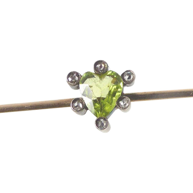 6 Mine Cut Diamonds ~ Heart Cut Peridot ~ Antique C. 1890's Brooch
