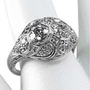 Antique 18 K White Gold Filigree C.1920 -Twin ½ ct Diamonds – 1.13 ct