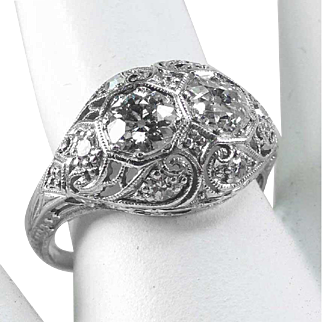 Antique 18 K White Gold Filigree C.1920 -Twin ½ ct Diamonds – 1.13 ct