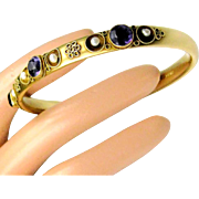 Antique ~ 14 K Yellow Gold Bangle by RYRIE Brothers ~ Amethysts & River Pearls