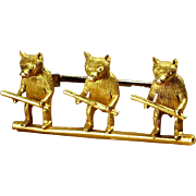 Victorian ~ 18K Gold Figural 3 Blind Mice Brooch