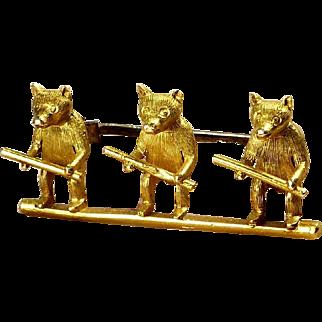 Victorian ~ 18K Gold Figural 3 Blind Mice Brooch