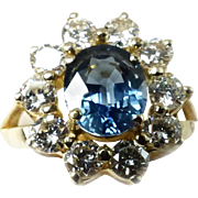 Gorgeous Blue Sapphire & Diamond Lady's Cluster Ring ~ 18K YG