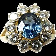Gorgeous Blue Sapphire & Diamond Lady's Cluster Ring ~ 18K YG