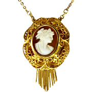 Antique Victorian Cameo Lavaliere ~ 14 K ~ Ornate 1860's Setting